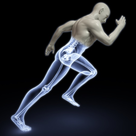 the body of a man running under the X-rays. isolated on black. photo