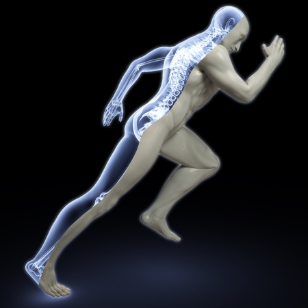 skeletal: the body of a man running under the X-rays. isolated on black.