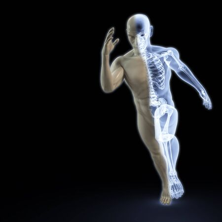 the body of a man running under the X-rays. isolated on black. Imagens