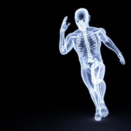skelett mensch: der K�rper eines Mannes, die unter die X-Strahlen ausgef�hrt wird. isoliert auf schwarz. Lizenzfreie Bilder