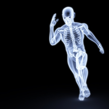 skeletal muscle: the body of a man running under the X-rays. isolated on black.