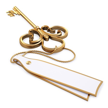 golden key: antique golden key with blank card. isolated on white.  Stock Photo