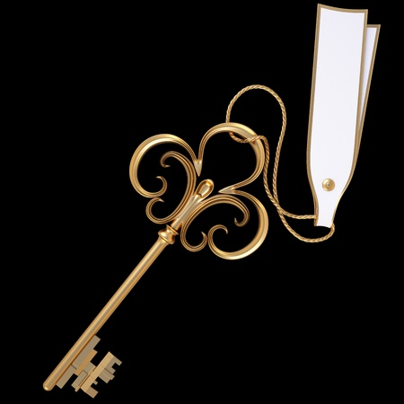key card: antique golden key with blank card. isolated on black.