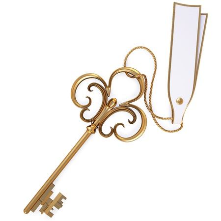 keys to success: antique golden key with blank card. isolated on black.