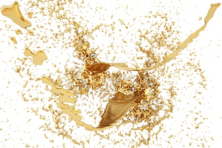 molten: splash of golden fluid on the wall. isolated on white.