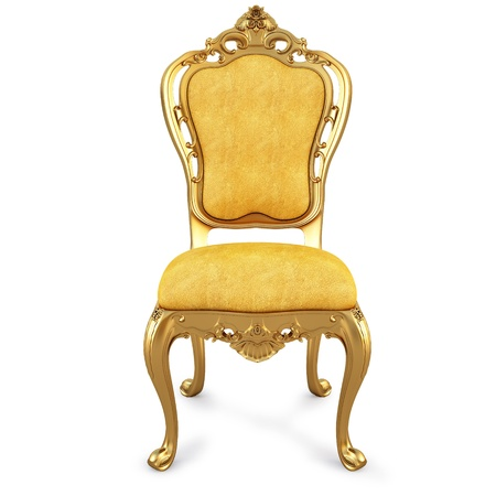 muebles antiguos: silla oro amarillo de la piel. aislados en blanco.