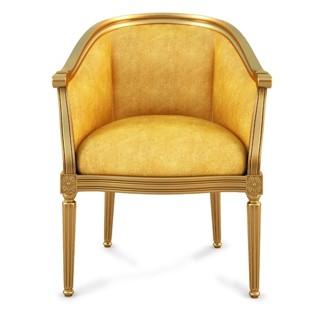 golden chair with yellow skin. isolated on white. photo