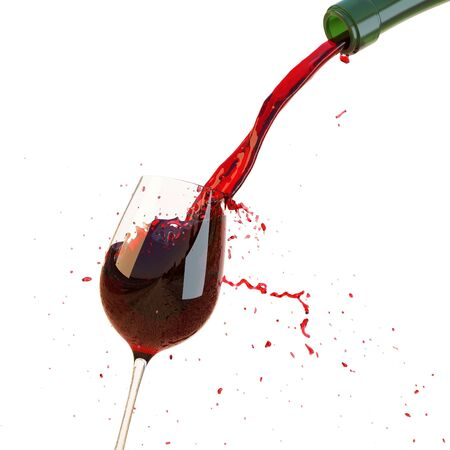 Red wine poured in a glass isolated on a white background. with clipping path.