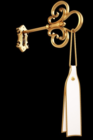 antique keyhole: golden key with a tag is inserted into the keyhole. isolated on black.