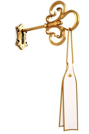 antique keyhole: golden key with a tag is inserted into the keyhole. isolated on white.