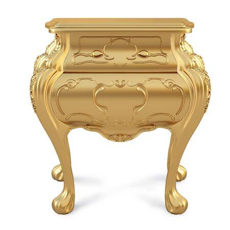 beautiful golden nightstand. isolated on white. photo