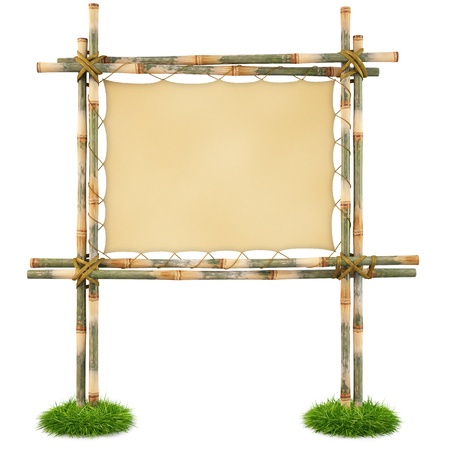 wooden sign: Bamboo billboard with a stretched cloth. isolated on white.