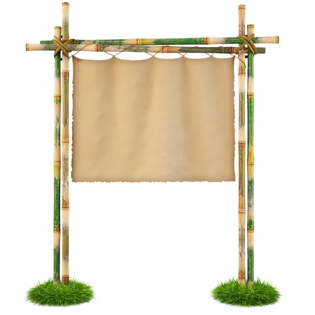 Bamboo billboard with hanging cloth. isolated on white. Stock Photo - 8828623