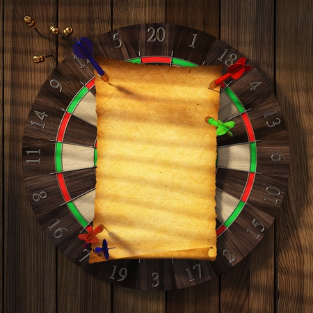 old yellow piece of paper nailed to a dartboard. photo