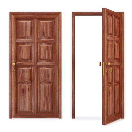 open and closed wooden doors. isolated on white.  photo