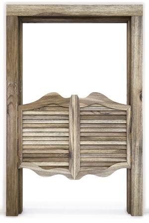 puertas antiguas: Antiguo movimiento occidental Sal�n puertas. aislados en blanco. Foto de archivo