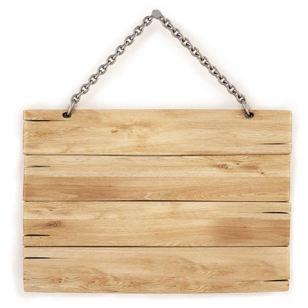 wood sign: blank wooden sign hanging on a chain. isolated on white.