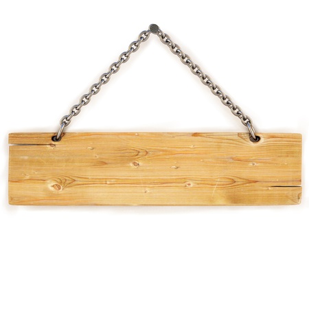 hanging sign: blank wooden sign hanging on a chain. isolated on white.