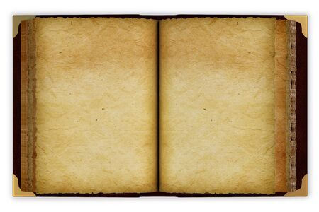 open spaces: Old opened book with empty pages. isolated on white. Stock Photo