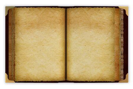 writing book: Vecchio aperto il libro con le pagine vuote. isolated on white. Archivio Fotografico