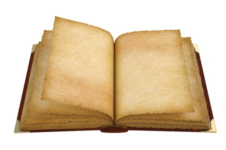 ancient: Old opened book with empty pages. isolated on white. Stock Photo