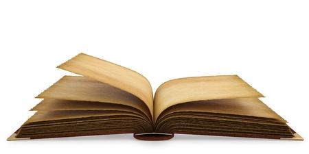libros abiertos: Antiguo abri� el libro con p�ginas vac�as. aislados en blanco.