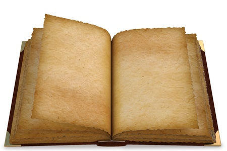 Old opened book with empty pages. isolated on white. photo