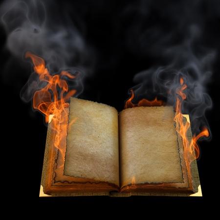 leeres buch: alte leer offenes Buch in der Flamme. isoliert auf schwarz.