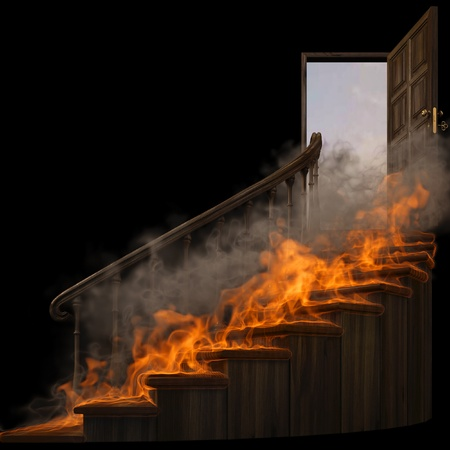 wood burning: burning wooden twisted staircase and opened door. isolated on black.