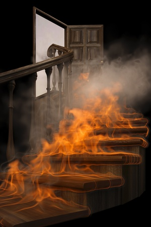 burning wooden twisted staircase and opened door. isolated on black.
