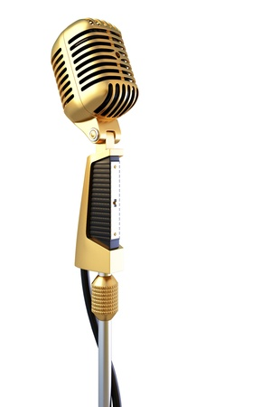 mic: golden old professional microphone. isolated on white.