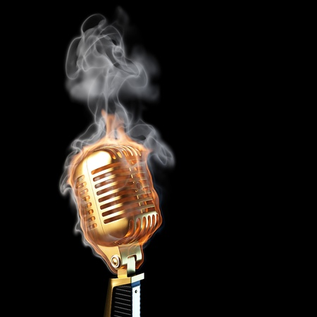 mic: burning old golden microphone. isolated on black.