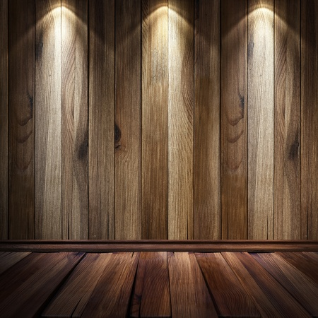 art gallery: vintage brown wooden wall with a spot illumination.