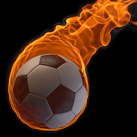flaming soccer ball. isolated on black Stock Photo - 9185760