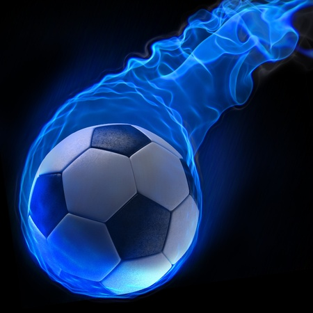 magic soccer ball in the blue flame. photo