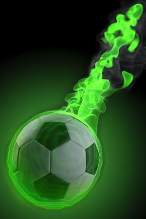 magical fiery soccer ball. photo