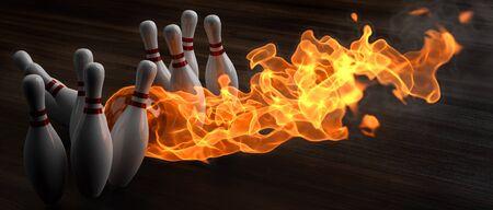 bowling: bola de bowling llameante derriba bolos. Ilustraci�n 3D. Foto de archivo