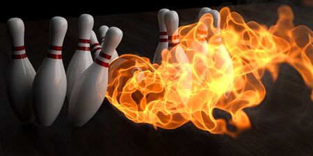 flaming bowling ball knocks down skittles. 3d illustration. Stock Illustration - 9185771