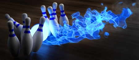 blue flames: glowing blue light bowling ball knocks down skittles. 3d illustration.