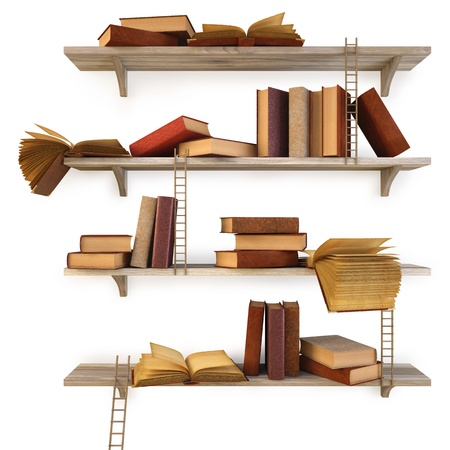book shelf: old books on the shelf. isolated on white. Stock Photo