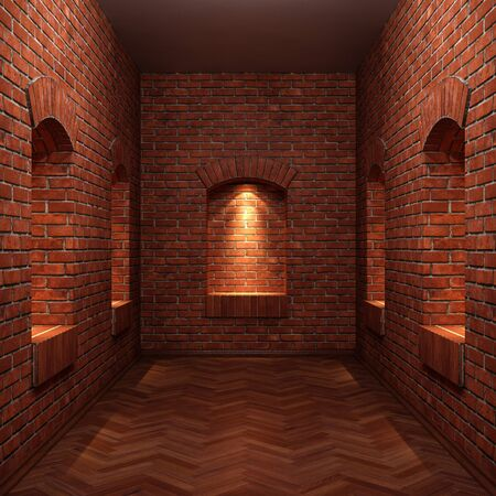 old grunge interior with brick wall and wooden floor. photo