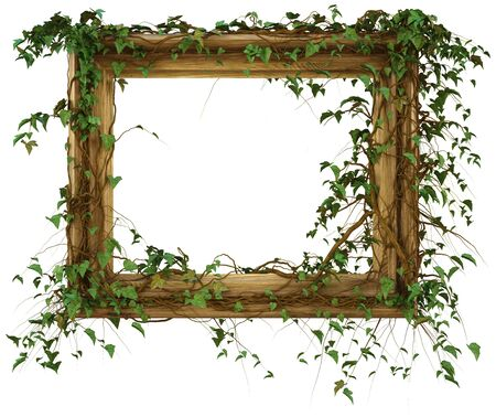 wooden frame was overgrown with ivy  photo