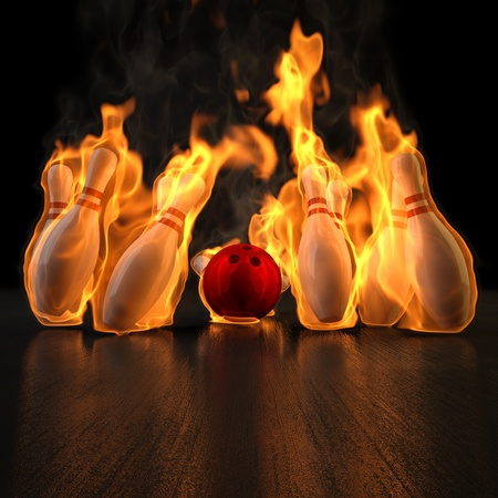 rolling: red bowling ball knocks down flaming skittles. 3d illustration.
