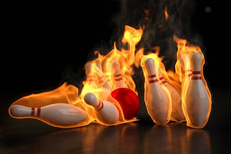 bowling pin: red bowling ball knocks down flaming skittles. 3d illustration.