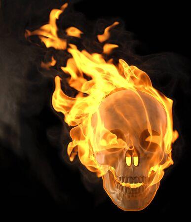 flaming skull. isolated on black photo