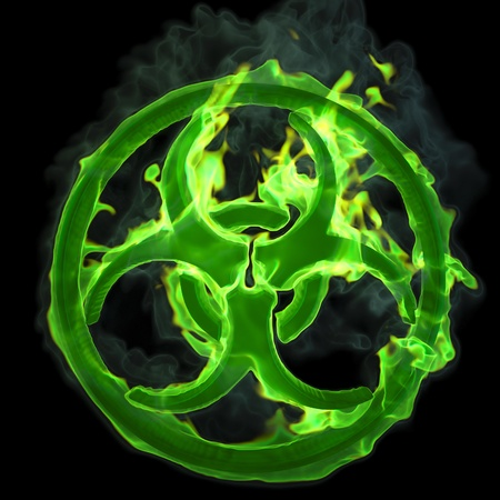 biohazard symbol: burning green fire sign of a biological hazard. isolated on black.