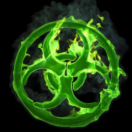 sustancias toxicas: signo de fuego verde ardor de un riesgo biol�gico. aislados en negro.