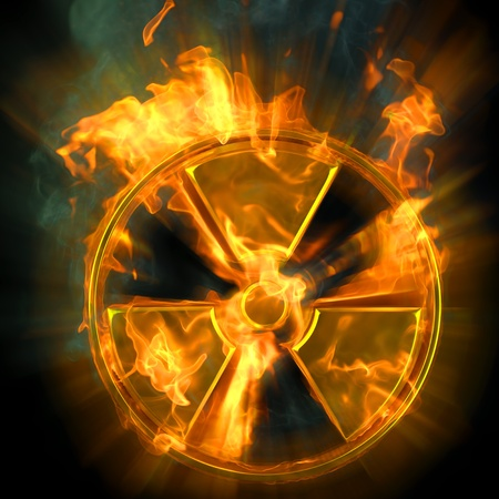 heat radiation: burning radioactive danger sign.