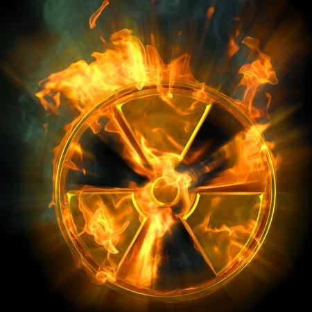 nuclear sign: burning radioactive danger sign.