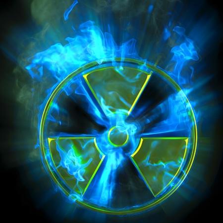 symbole chimique: combustion signe de danger radioactif.